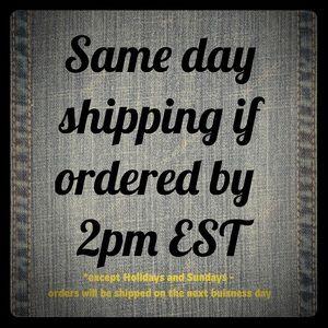 Same day shipping Monday-Saturday